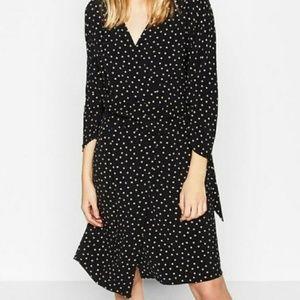Zara Polk a dot wrap midi dress 3/4 sleeve